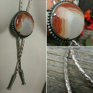 Vintage Banded Agate Stone Bolo Tie, Boho Necklace